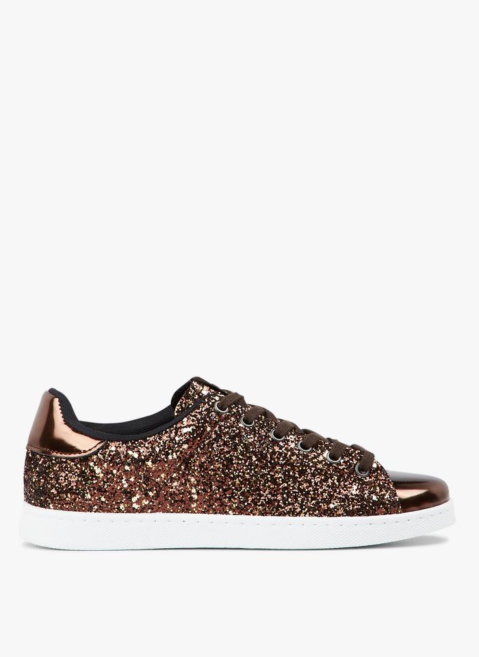 VICTORIA Lage sneakers met pailletten Goudkleurige