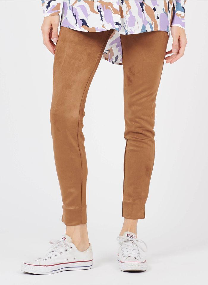 VILA Suèdeachtige legging met hoge taille Bruin